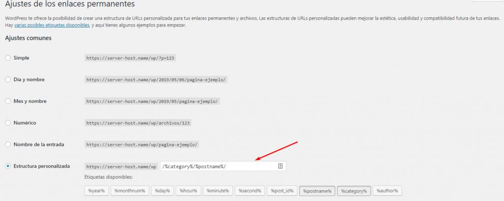 estructura personalizada en wordpress