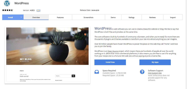 instalando wordpress via softaculous